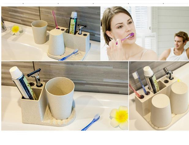 Lovers Tooth Mug Toothbrush Set Bathroom Wheat Straw Toothbrush Holders