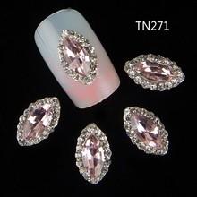 10 pcs prego 3d unhas arte decoração glitter rhinestone manicure ferramentas do prego jóia rosa TN271