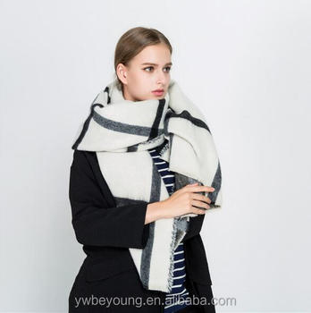 Women Winter warm thick beige big wool colored scarf