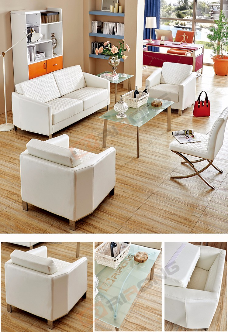 Modern living room furniture sectional plaid white pu leather sofa set