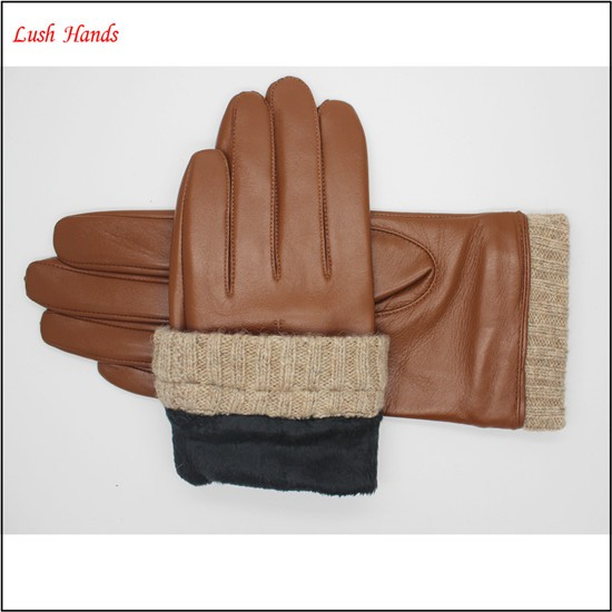 ladies leather brown driving gloves tablets touch leather gloves