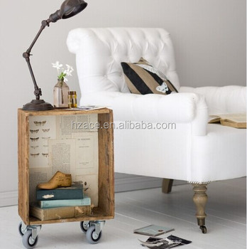 Rustic Wooden Side Table With Wheels
