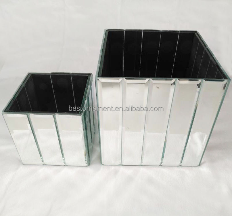 """10cm GLASS MIRRORED CUBE VASE CLEAR 4/"""" Square Clear Flower Table Wedding Event"""