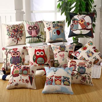 Custom New Design Made High Quality Owl Embroidery Design Handmade Cotton Sofa  Cushion Cover Decorative Cushion