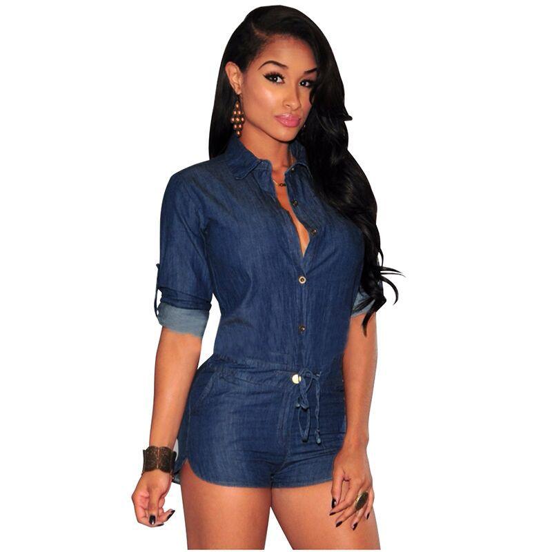 efaea56ff08 Denim blue jeans sexy bodycon short jumpsuit long sleeve autumn romper pant high  waist elegant club