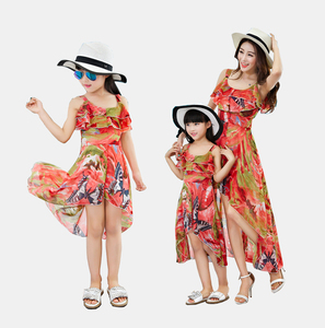 European style Amazon Wish Hot Sale Mother And Daughter Matching Outfits Dresses