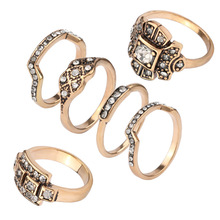 Wholesale 6pcs gold plated jewely,five finger ring set,chinese supplier