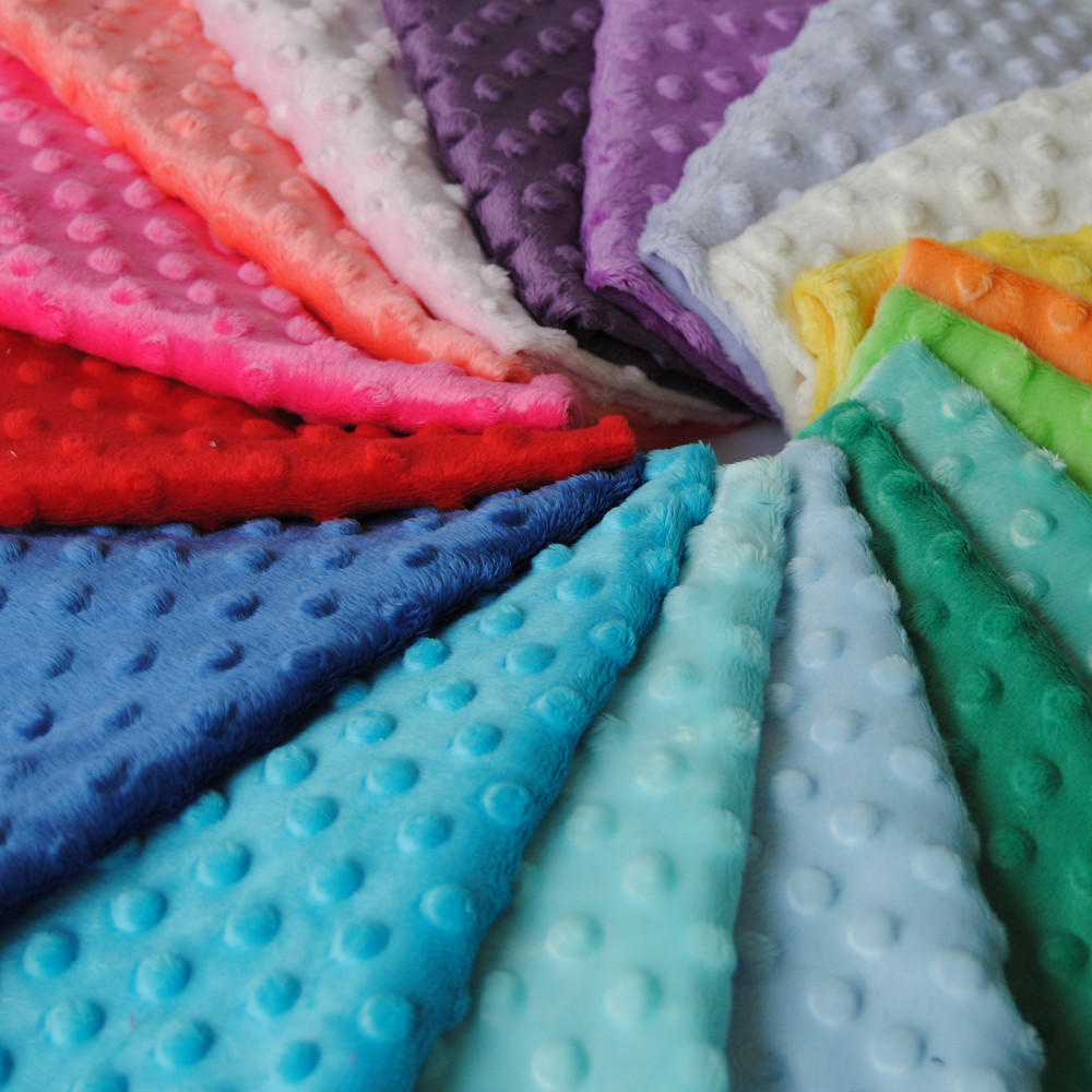 31 colors available 100% polyester Minky Dot Fabric export to USA