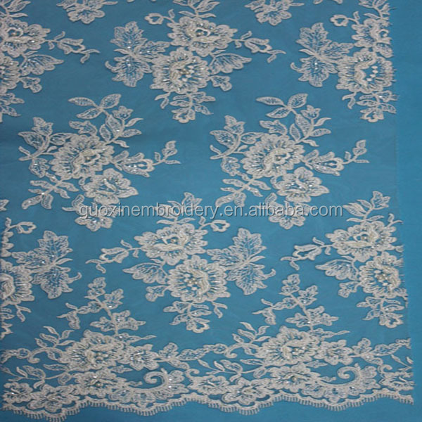 2015 embroidery lace fabric with beads for wedding dress