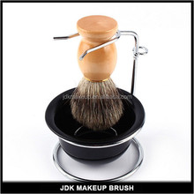 Cheap Shaving Kit,Wood Shaving Brush Tool with Metal Shaving Stand and Bowl