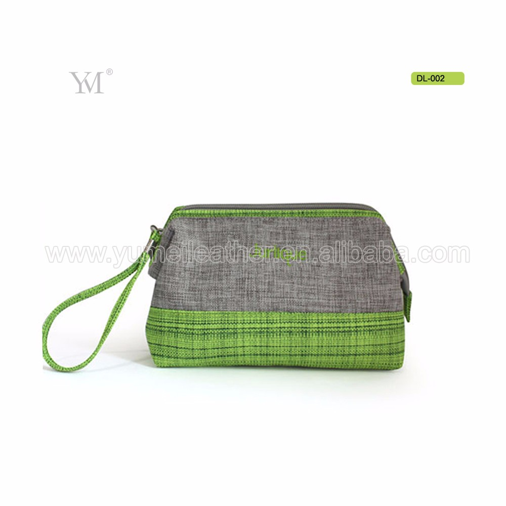 Korean style small makeup bag polyester green cosmetic pouch with wrist