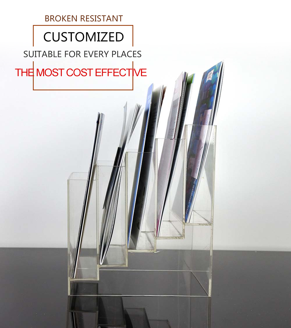 For Newsagent Lucite Tabletop Acrylic A4 Zigzag Brochure Book Stand Holder