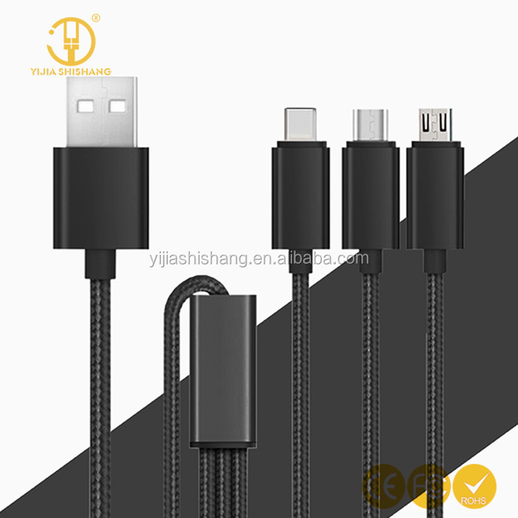 Factory price 3 in 1 Type-c charing cable Micro usb 8 pin charing cable for all smartphone