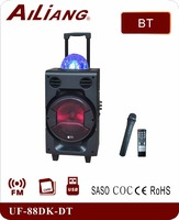 AILIANG rechargeable trolley speaker with bluetooth and wireless microphone