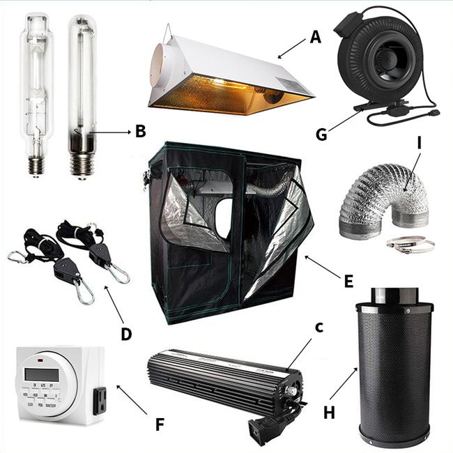 Sistema idroponico Coltiva La Tenda 600D Kit Completo per La Crescita Delle Piante
