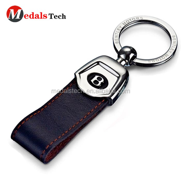 Unique custom  car logo brown leather cover metal keychain