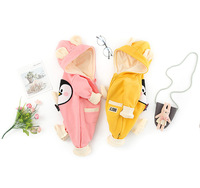0-2 year baby clothing jumpsuits cartoon pattern hooded ear infant girls and boys rompers