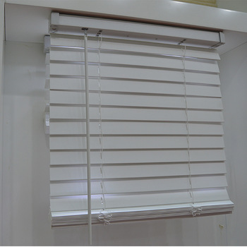 Type Of Office Window Curtain 50mm Cordless Classic Pvc Faux Wood  Horizontal Window Venetian Blinds