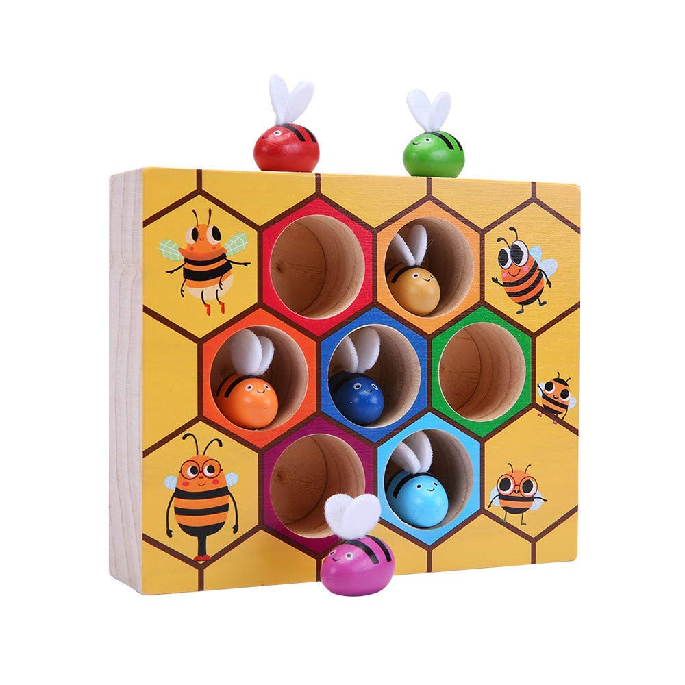 Matching Game Toys, TechCode Cute Wooden Bee Hive Board Games Picking Catching Practices Toy Kids Wooden Toys Sorting Set Early Childhood Education Building Blocks Early Childhood Balance Training