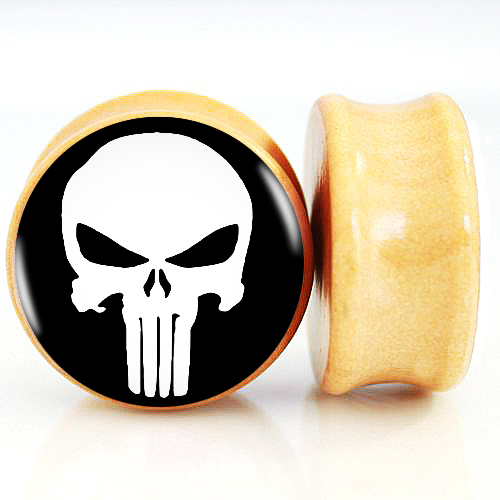 2pcs/Lot Pair of Nature Wood Ear Plugs Fit Ear Gauges Plugs - Punisher skull 6MM-25MM 2G-1''