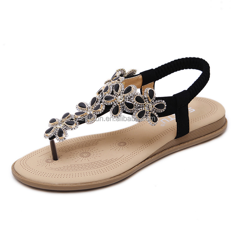 Fashionable style flip flops flower Bohemia fashion women fancy flats <strong>sandals</strong> for girls