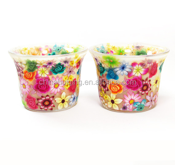 Factory manufacture DIY glass candle holder Welcome Customize polmer clay candle cup for decoration