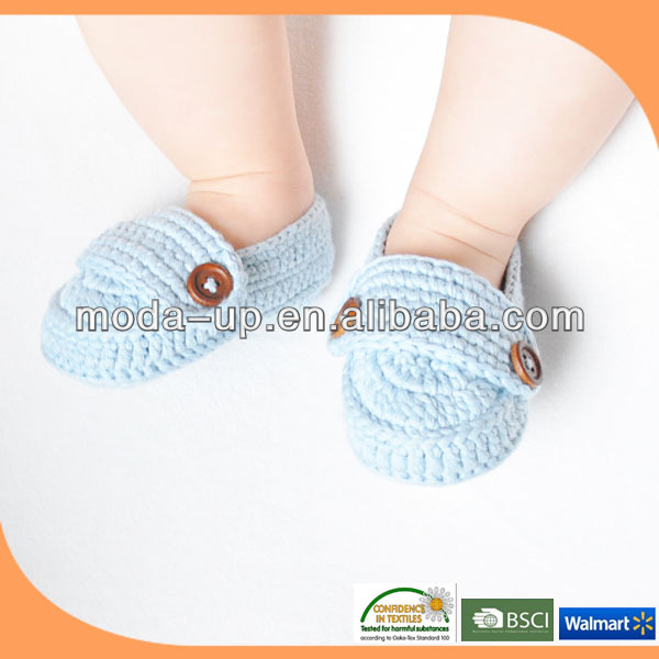 hign quality soft cotton fabric hand knit baby shoes/ crochet baby shoes