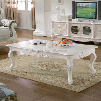 Wholesale Ivory White Rectangular Wooden Coffee Table