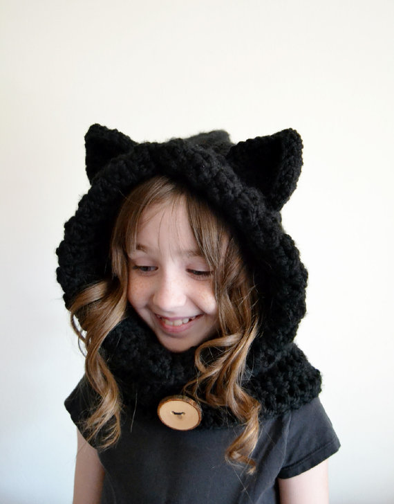 02a641c8225 Get Quotations · girls Hooded Bear Cowl Animal Hat - Hooded Scarf - Crochet  Hoodie - Chunky Crochet Hat