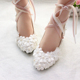 Fashion women wedding shoes handcrafted shoes with elegant tie 5cm sexy heel
