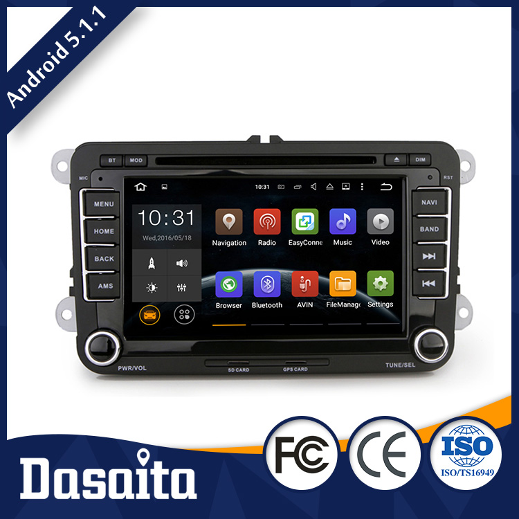 Android 5.1.1 1024 600 High Resolution car radio dvd with gps mirror for VW skoda