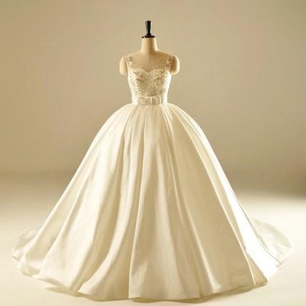 ah1905 perlas bola vestido vestido de novia de raso duches