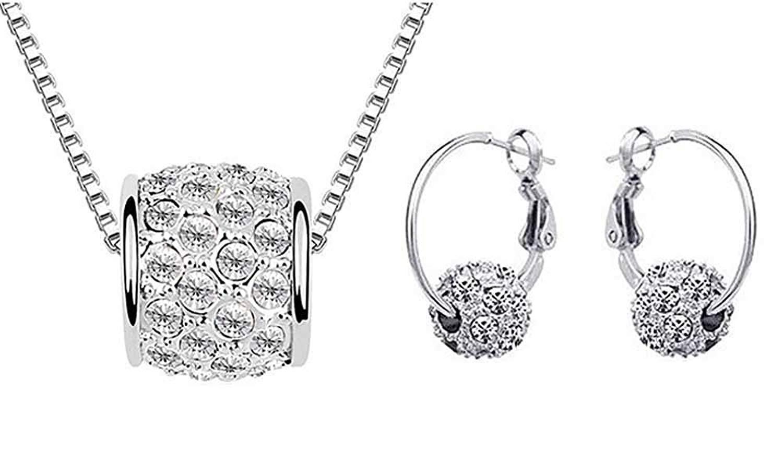 KORPIKUS Crystal Rhinestone Jewel Shiny Silver ' Ball ' Necklace & FREE Matching Earrings Set in Designer Gift Bag!