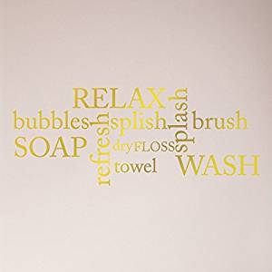"24""x11"" Bathrooms Collage Sayings Relax Bubbles Splish Splash Soap Refresh Dry Towel Floss Brush Wash Wall Decal Sticker Wall Words Art Mural Wall Decal Sticker Art Mural Home Decor Quote"