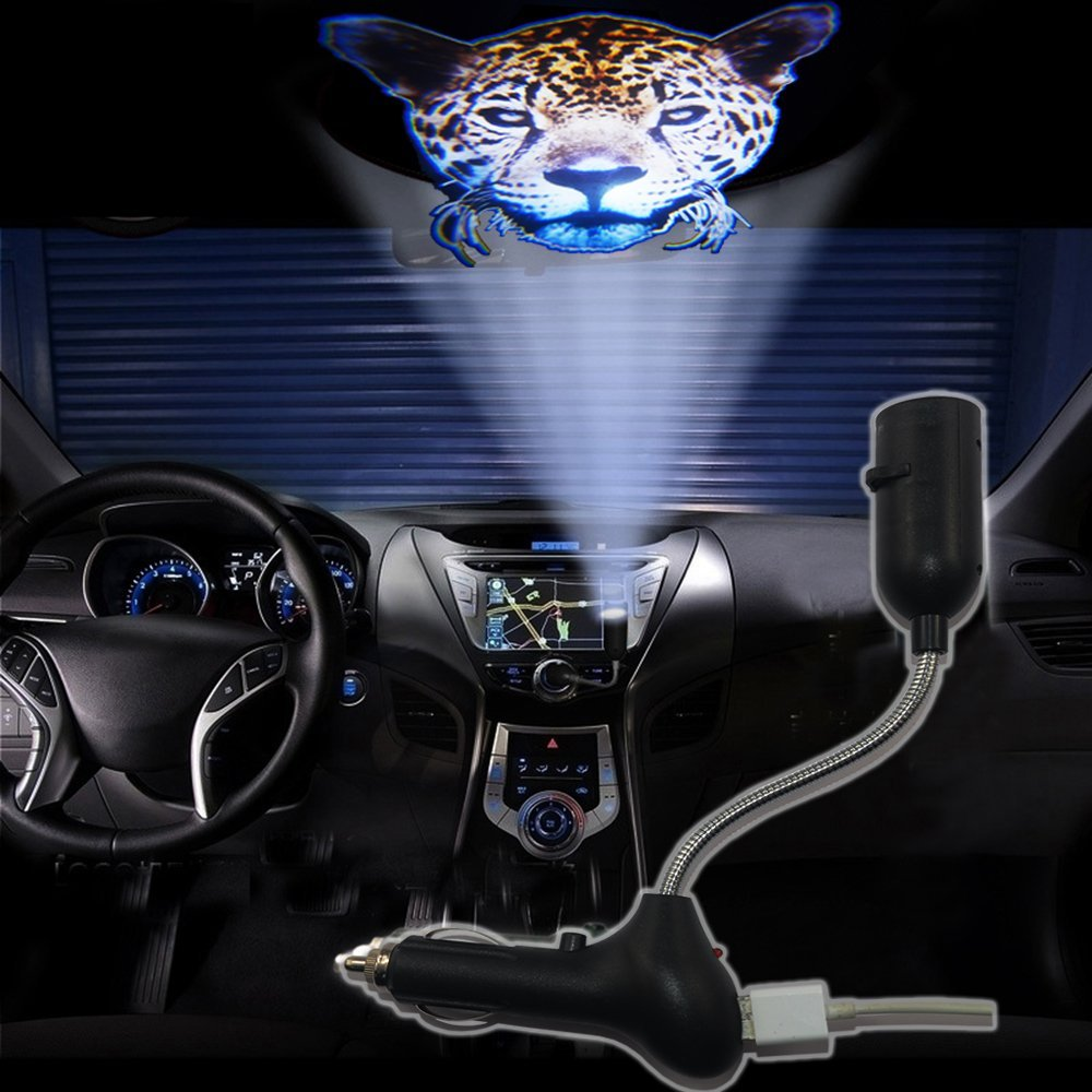 SHE'O Cool Fashion Leopard Animal head USB Car Cigarette lighter roof projector ghost shadow logo LED light lamp projection light projector atmosphere reading light 12~24v