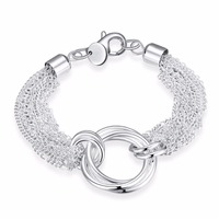 Beautiful Jewelry 925 Solid Silver Plated Classic Hoop Bangle Bracelets For Women Mens