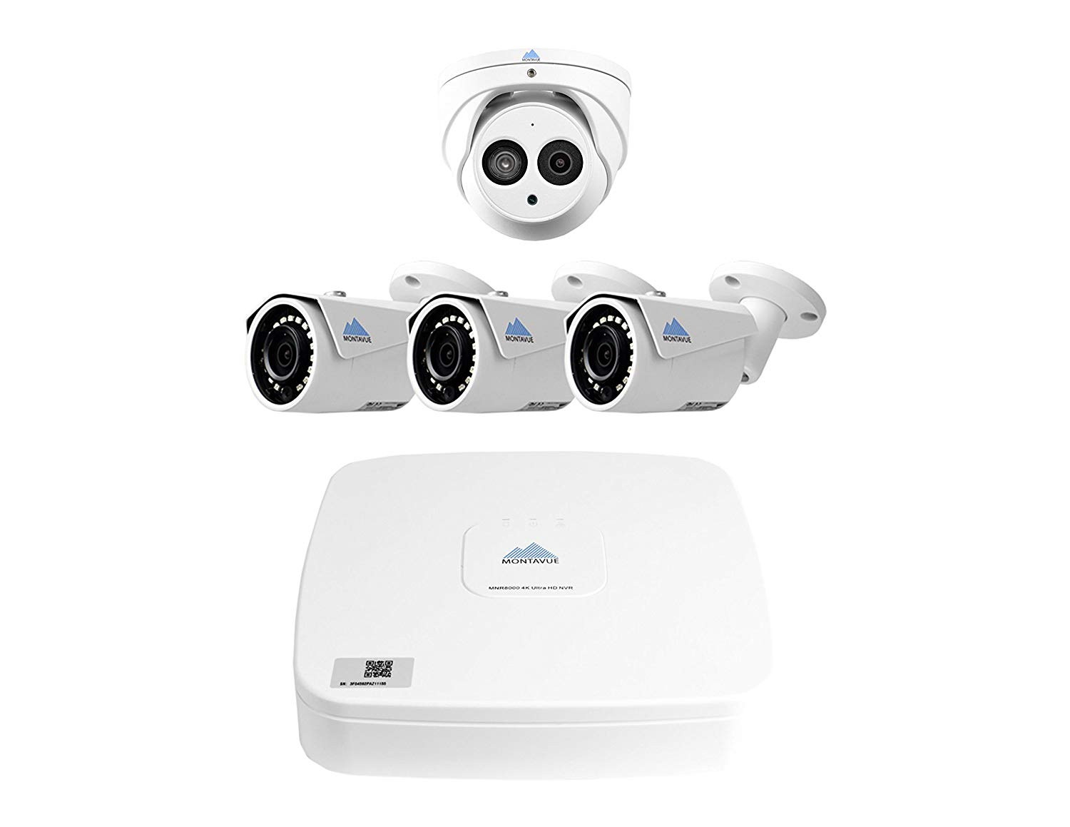 Montavue Surveillance System 4 Channel NVR w/ 4 4MP IP Security Cameras 3 Bullets 1 Turret with Audio, Color Night Optics, IR Night Vision & metal housing – MTIP80413B1T