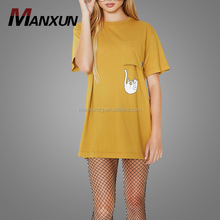 High Quality Girls Sublimation Cartoon Printing Casual Tee Dress Women's Cotton Tshirt Dress