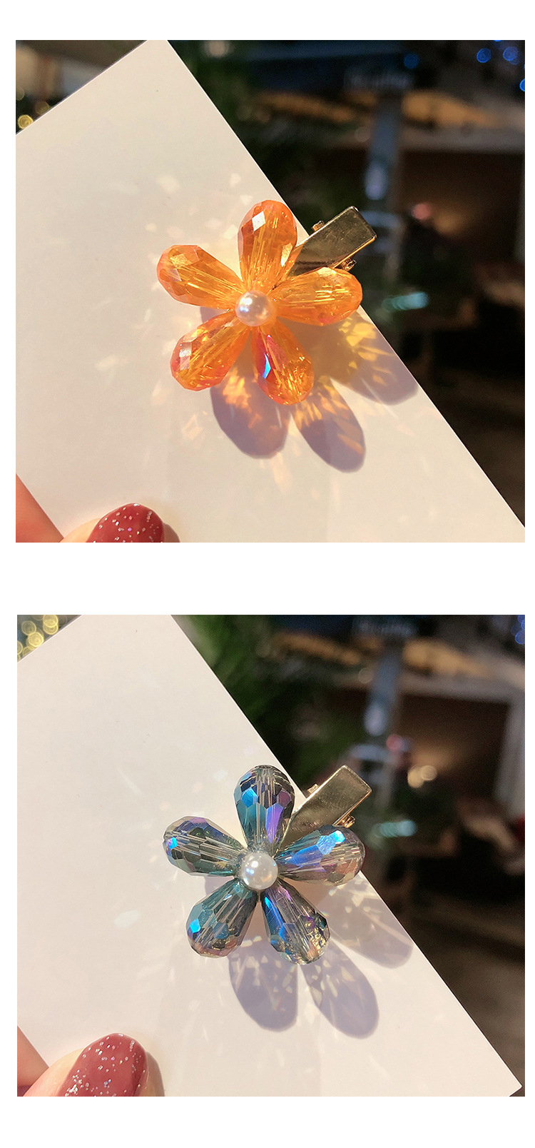 Girl hairpin simple sweet crystal flower small duck bill hairpin