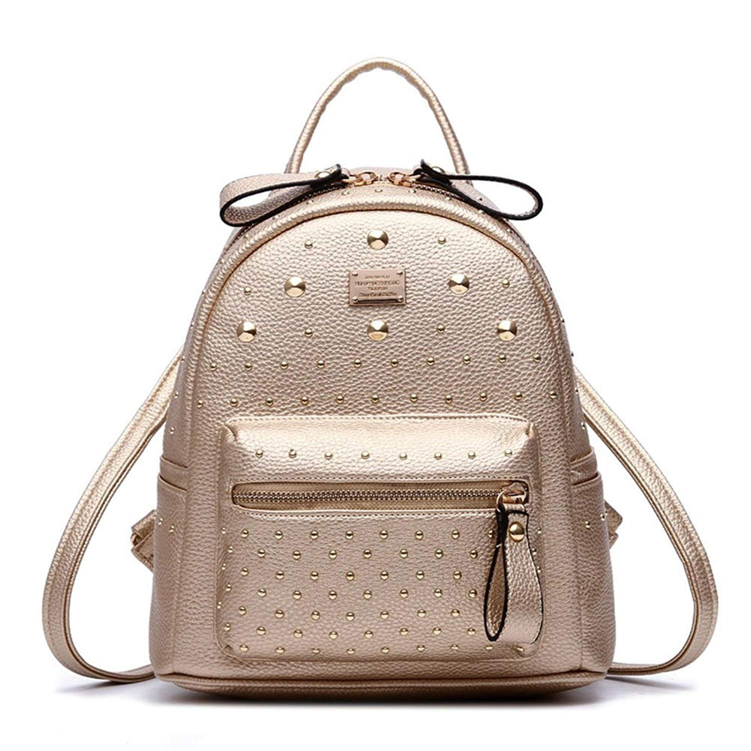 567e4abe1f2d Get Quotations · BAG WIZARD Fashion Studded Leather Backpack Casual Daypack  Cute Mini Backpack for Girls