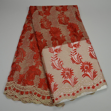 Red Color New African french lace fabric with Stones And pearl High Quality Wedding net lace fabric