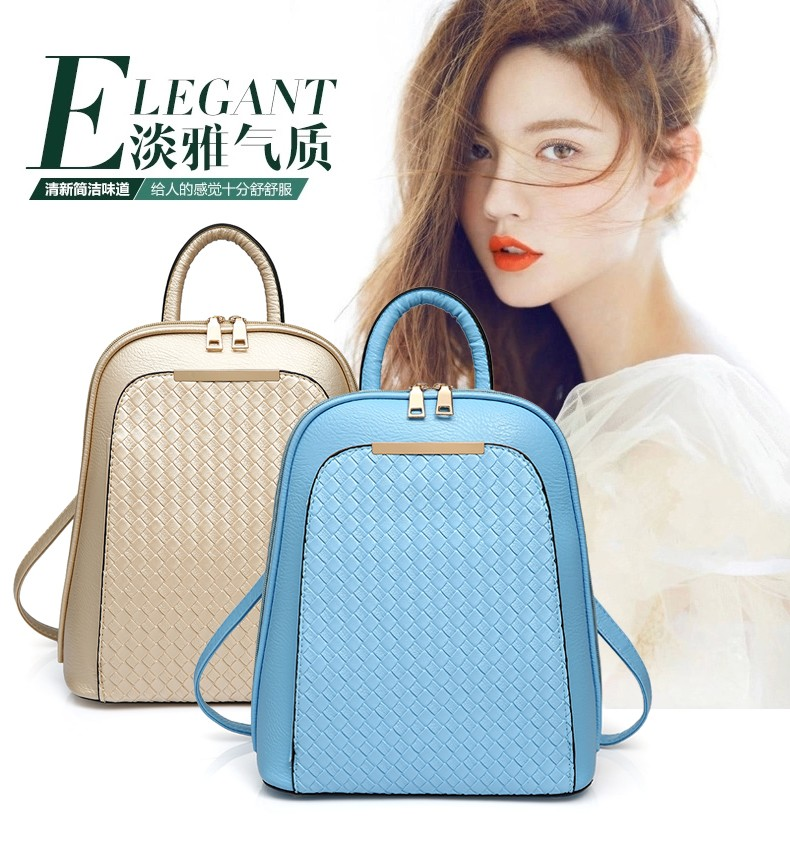 2016 Korea Pu Woman Leather Backpack Bag,Weave Backpack Bag