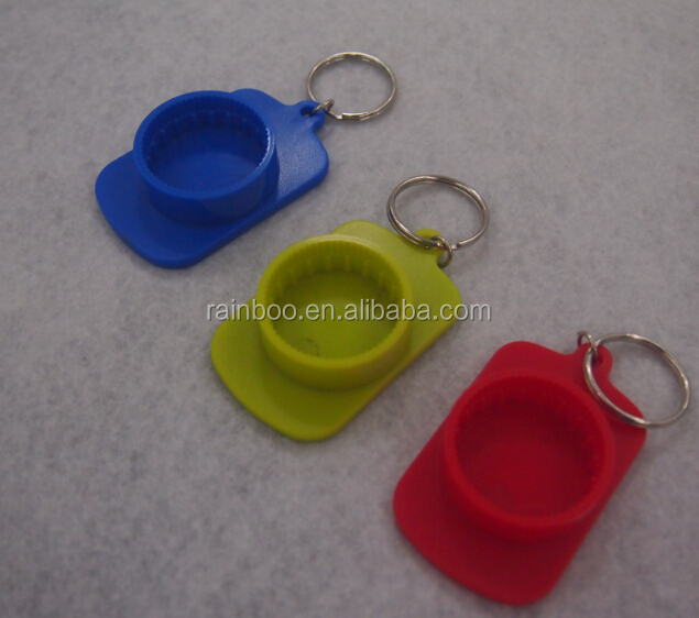 Logo printed cheap plastic beer keychain bottle opener for promotion