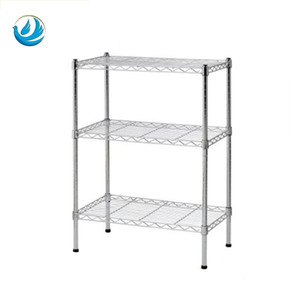 Metal furniture organizer 3 shelves knock down stainless steel storage rack for home office and store