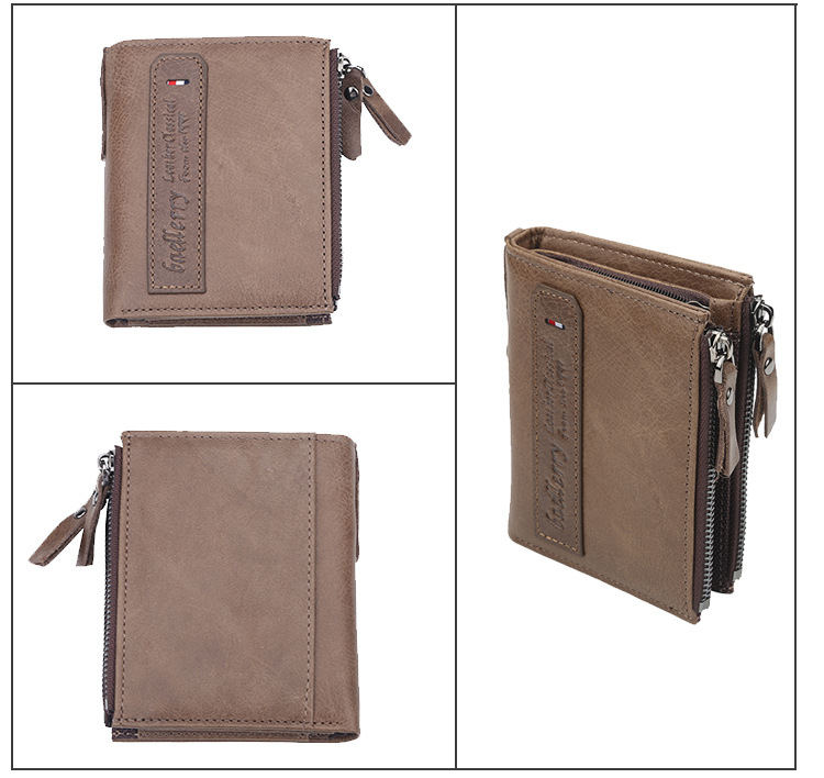 Baellerry Brand 2018 New Style Genuine Leather Double Zipper Short Wallet Fashionable Men's Purse Accept Drop Ship