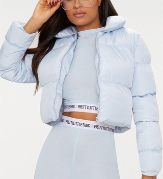 Wholesale Baby Blue women Cropped Puffer coat