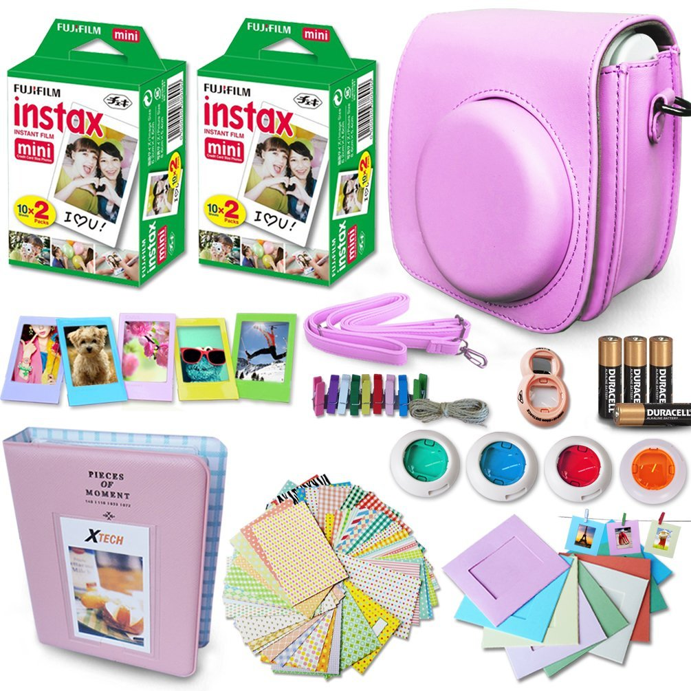 Xtech PINK Accessories Kit for Fuji FujiFilm Instax Mini 8 Cameras includes: 40 Instax Film + Custom Fitted Case for Fuji Mini 8 Cameras + Assorted Stickers / Paper Frames + Photo Album +MORE