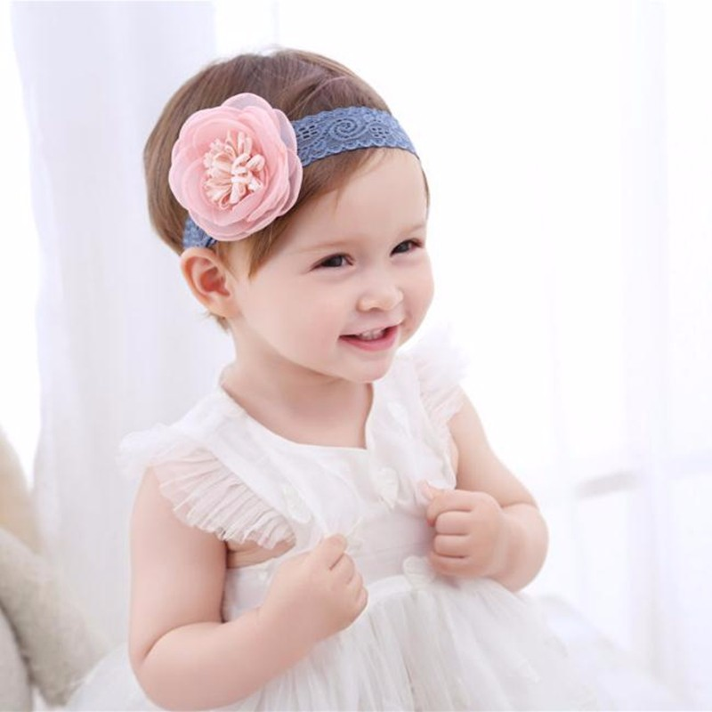 Top Baby Flower Headband Infant Newborn Baby Girl Toddler Christening Photo Prop