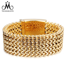 18 K Emas Lebar Cuff Bracelet Pria Heavy Stainless Steel Mesh Bangle