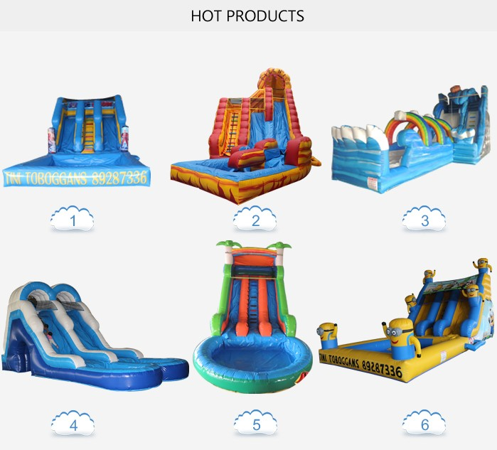 Factory price palm tree giant inflatable water slide with pool and blower